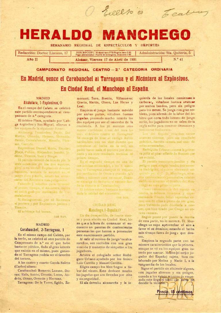 Primer HERALDO Manchego una vez declarada la II República. Abril 1931