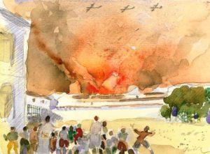 Bombardeo de la Campsa. Acuarela Isidro Parra.